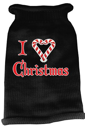 I Heart Christmas Screen Print Knit Pet Sweater SM Black