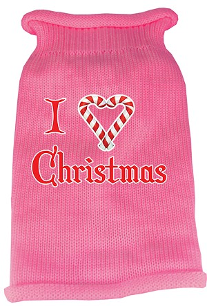 I Heart Christmas Screen Print Knit Pet Sweater MD Pink