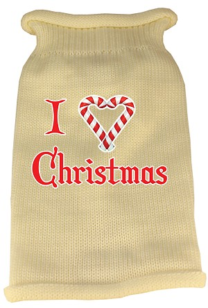 I Heart Christmas Screen Print Knit Pet Sweater MD Cream
