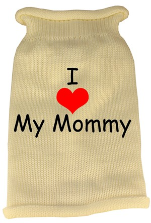 I Heart Mommy Screen Print Knit Pet Sweater XS Cream