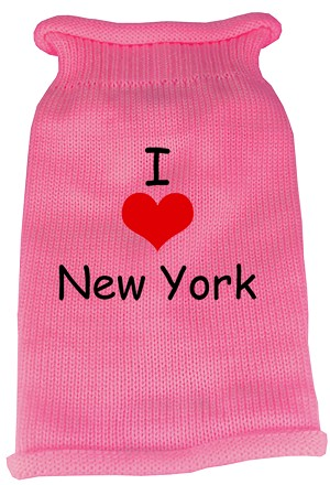 I Love New York Screen Print Knit Pet Sweater XL Pink