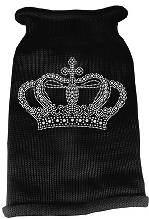 Crown Rhinestone Knit Pet Sweater XL Black