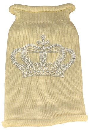 Crown Rhinestone Knit Pet Sweater MD Cream