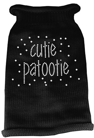 Cutie Patootie Rhinestone Knit Pet Sweater LG Black