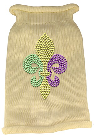 Mardi Gras Fleur De Lis Rhinestone Knit Pet Sweater LG Cream