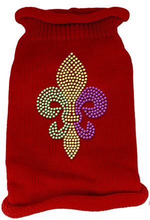 Mardi Gras Fleur De Lis Rhinestone Knit Pet Sweater MD Red