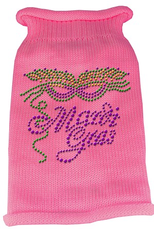 Mardi Gras Rhinestud Knit Pet Sweater MD Pink