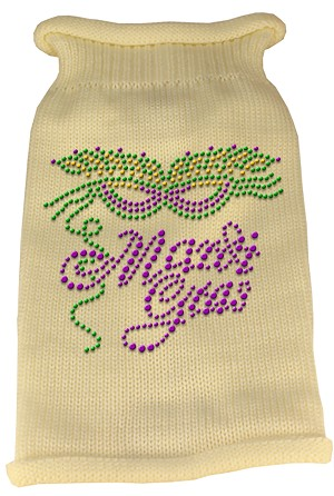Mardi Gras Rhinestud Knit Pet Sweater XXL Cream