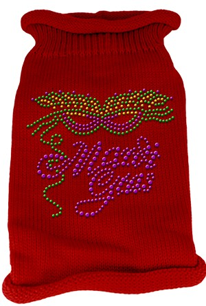 Mardi Gras Rhinestud Knit Pet Sweater XXL Red