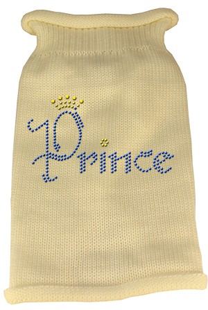 Prince Rhinestone Knit Pet Sweater XS Cream
