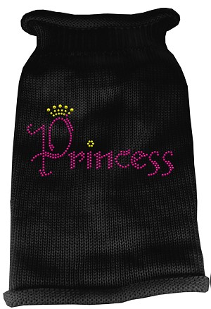 Princess Rhinestone Knit Pet Sweater SM Black