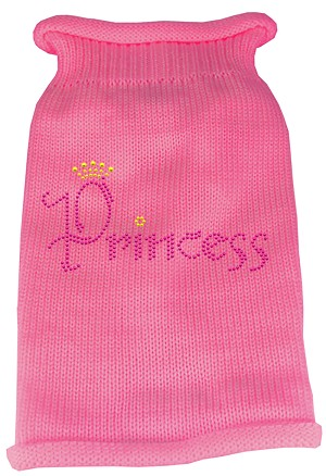 Princess Rhinestone Knit Pet Sweater XS Pink