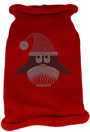 Santa Penguin Rhinestone Knit Pet Sweater LG Red
