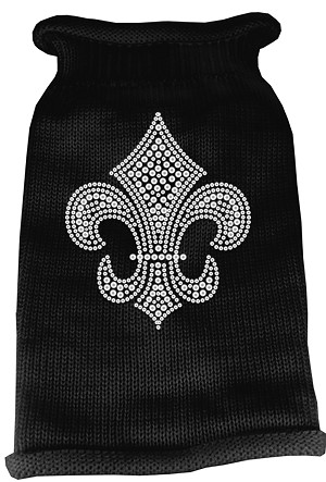 Silver Fleur de lis Rhinestone Knit Pet Sweater LG Black