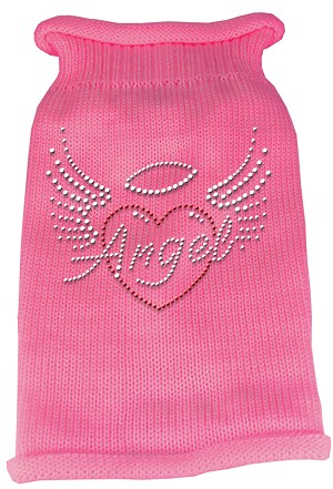 Angel Heart Rhinestone Knit Pet Sweater XS Pink