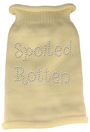 Spoiled Rotten Rhinestone Knit Pet Sweater SM Cream