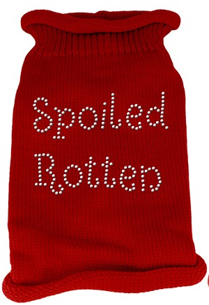 Spoiled Rotten Rhinestone Knit Pet Sweater LG Red