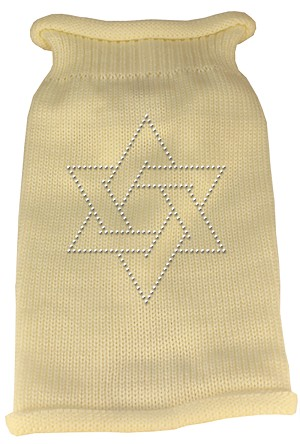 Star of David Rhinestone Knit Pet Sweater XL Cream