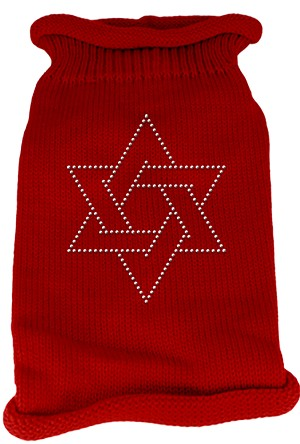 Star of David Rhinestone Knit Pet Sweater MD Red