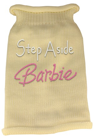 Step Aside Barbie Rhinestone Knit Pet Sweater LG Cream