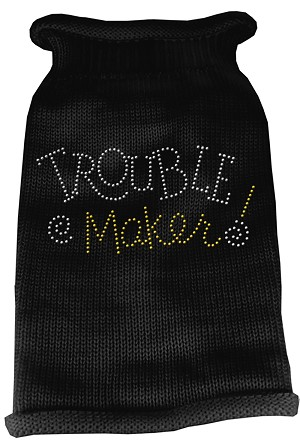 Trouble Maker Rhinestone Knit Pet Sweater SM Black