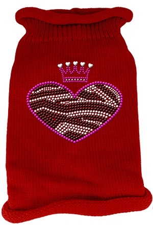 Zebra Heart Rhinestone Knit Pet Sweater XS Red