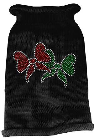 Christmas Bows Rhinestone Knit Pet Sweater SM Black