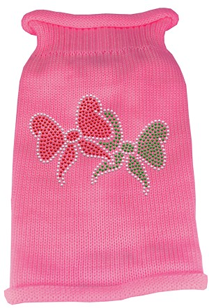 Christmas Bows Rhinestone Knit Pet Sweater LG Pink