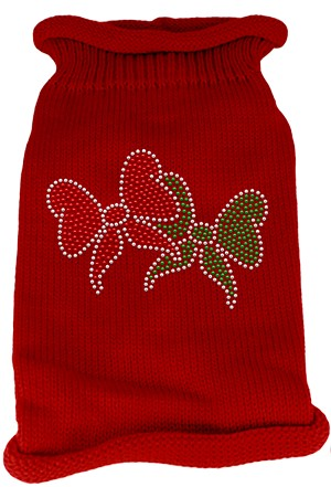 Christmas Bows Rhinestone Knit Pet Sweater LG Red