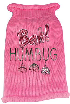 Bah Humbug Rhinestone Knit Pet Sweater XS Pink