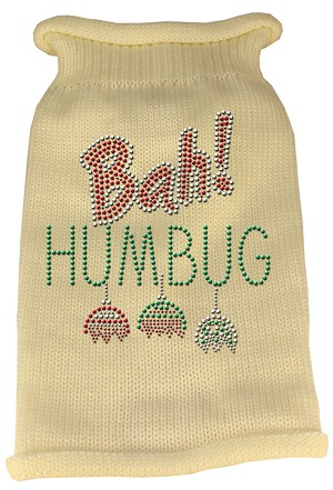 Bah Humbug Rhinestone Knit Pet Sweater XXL Cream
