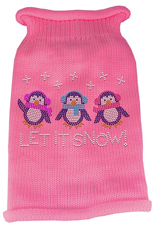 Let It Snow Penguins Rhinestone Knit Pet Sweater SM Pink