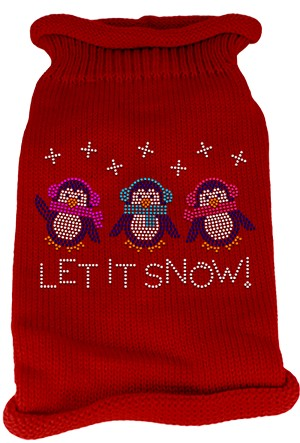 Let It Snow Penguins Rhinestone Knit Pet Sweater MD Red