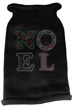 Noel Rhinestone Knit Pet Sweater SM Black