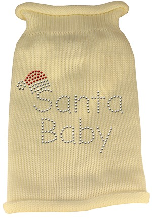 Santa Baby Rhinestone Knit Pet Sweater LG Cream