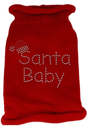 Santa Baby Rhinestone Knit Pet Sweater MD Red