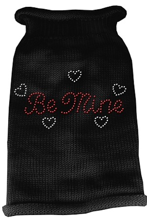 Be Mine Rhinestone Knit Pet Sweater SM Black