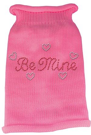 Be Mine Rhinestone Knit Pet Sweater MD Pink