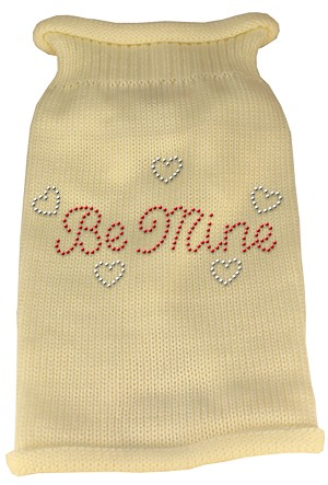 Be Mine Rhinestone Knit Pet Sweater XS Cream