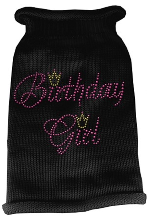 Birthday Girl Rhinestone Knit Pet Sweater SM Black