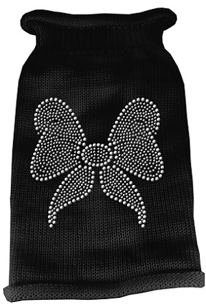 Bow Rhinestone Knit Pet Sweater MD Black