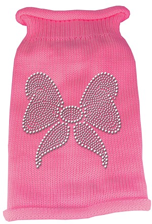 Bow Rhinestone Knit Pet Sweater LG Pink