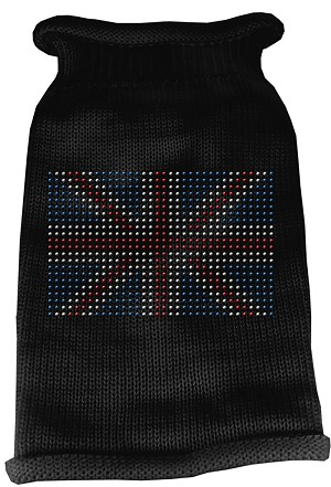 British Flag Rhinestone Knit Pet Sweater XL Black