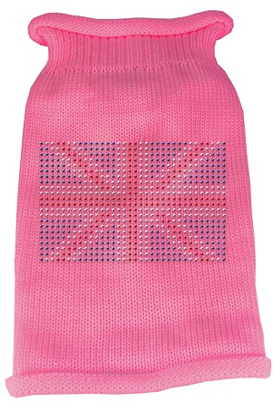 British Flag Rhinestone Knit Pet Sweater XXL Pink