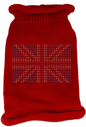 British Flag Rhinestone Knit Pet Sweater XXL Red
