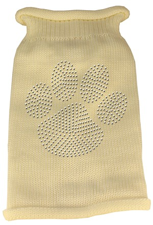 Clear Rhinestone Paw Knit Pet Sweater LG Cream