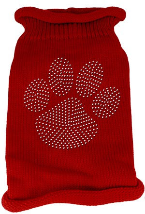 Clear Rhinestone Paw Knit Pet Sweater MD Red