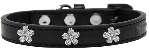 Silver Flower Widget Dog Collar Black Size 18