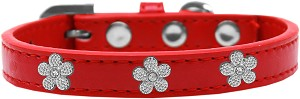 Silver Flower Widget Dog Collar Red Size 12