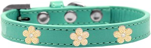 Gold Flower Widget Dog Collar Aqua Size 18